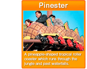 Pinester A pineapple-shaped tropical roller coaster which runs through the jungle and past waterfalls.