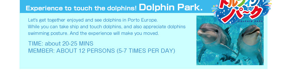 Experience to touch the dolphins! Dolphin Park. Let's get together enjoyed and see dolphins in Porto Europe. While you can take ship and touch dolphins, and also appreciate dolphins swimming posture. TIME: about 20-25 MINS    MEMBER: ABOUT 12 PERSONS (5-7 TIMES PER DAY)